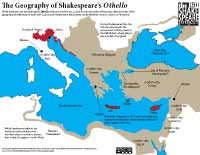 Infographic/map/handout delineating the geographical references and contexts within the play Othello.